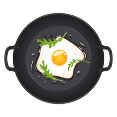 Fried eggs with arugula on frying pan, top view. Isolated on white background. Vector illustration.
