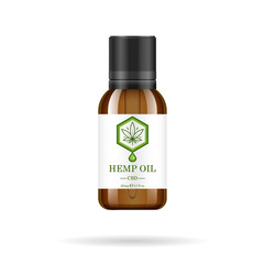 Realistic glass bottle with hemp oil. Mock up of cannabis oil extracts in jars. Medical Marijuana logo on the label. Vector illustration.