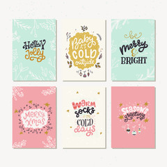 Set of six holiday cards with hand lettering