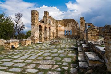 Ruins of the Basilica of Agios (Saint) Achillios at the Small Prespa Lake in northern Greece