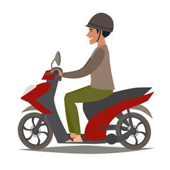 Happy asian man on scooter vector illustration. People drive motorbike. Traditional Vietnamese transport, cartoon style. Scooter cartoon flat design, isolated on white background
