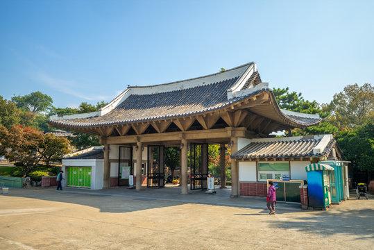 Main gate of Dalseong Park in Daegu, South Korea