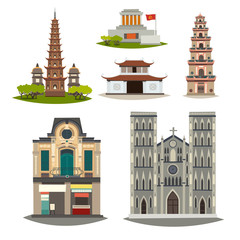 Fototapete - Vietnam vector building collection. Detailed pagoda, house, mausoleum cartoon illustration. Historical place cityscape isolated on white background. Architecture in the town, flat cartoon style