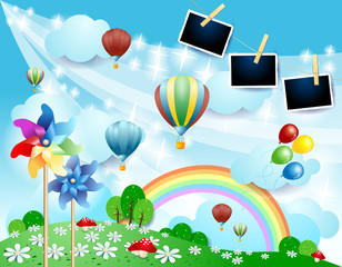 Spring landscape with balloons, pinwheels and photo frames