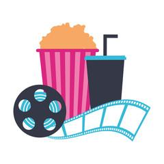 cinema popcorn and soda reel strip movie film