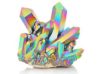 Amazing colorful flashing Quartz Rainbow Titanium Aura crystal cluster closeup isolated on white background. Macro of beautiful rare sparkly rainbow mineral stone