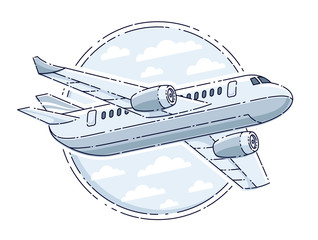 Plane airliner with round shape, airlines air travel emblem or illustration. Beautiful thin line vector isolated over white background.