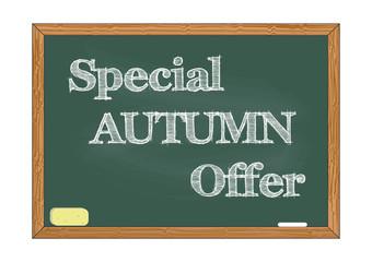 Special autumn offer chalkboard notice Vector illustration for design