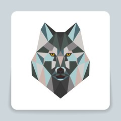 Wild wolf low poly design. Triangle vector illustration. Geometric hipster sketch for tattoo or shirt in colorful origami style
