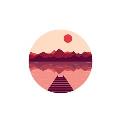 Flat nature round icon with a landscape. Vector illustration in modern style. Landscape with mountains and river or lake, with sun and pier. Panorama of mountains on sunset or sunrise