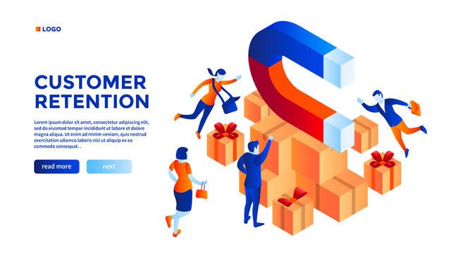 Customer retention concept background. Isometric illustration of customer retention vector concept background for web design