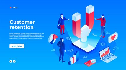 Client retention concept background. Isometric illustration of client retention vector concept background for web design