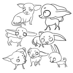 Set of vector drawings, funny dogs, cartoon characters, moods and emotions