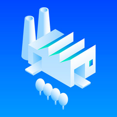 Eco factory icon. Isometric of eco factory vector icon for web design isolated