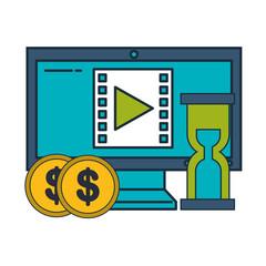 computer hourglass coins money business