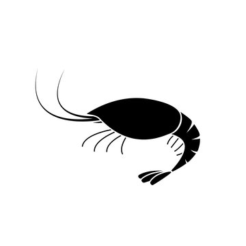Red shrimp silhouette icon. Seafood clipart isolated on white background