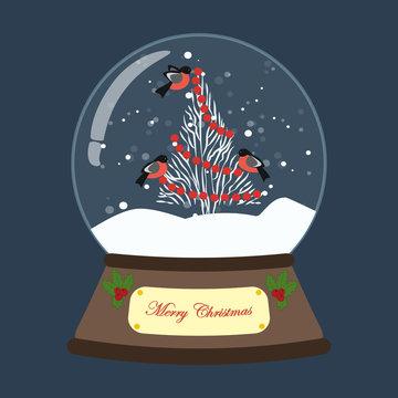 Christmas snow globe with christmas tree and birds illustration