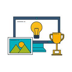 business computer success trophy idea picture