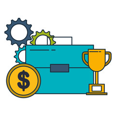 business briefcase trophy money gears