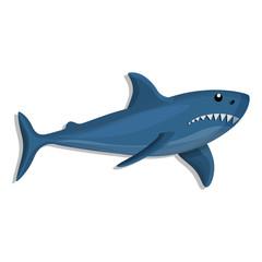 Blue shark icon. Cartoon of blue shark vector icon for web design isolated