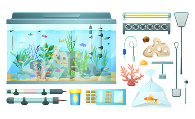 Aquarium and Its Elements Isolated on White Banner