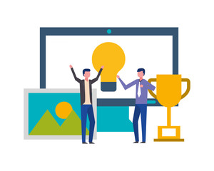 businessmen computer idea trophy success