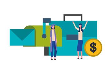 businesswomen briefcase email money business