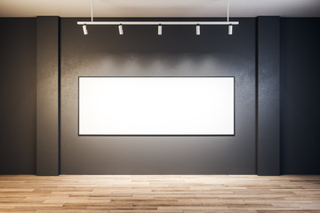 Contemporary exhibition hall with empty billboard