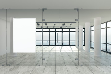 Modern office with banner