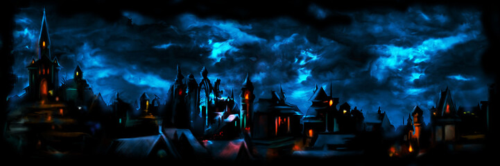 Fototapeta Medieval night town banner/ Illustration a fantasy town night scape with lights, sky with clouds on the background  obraz