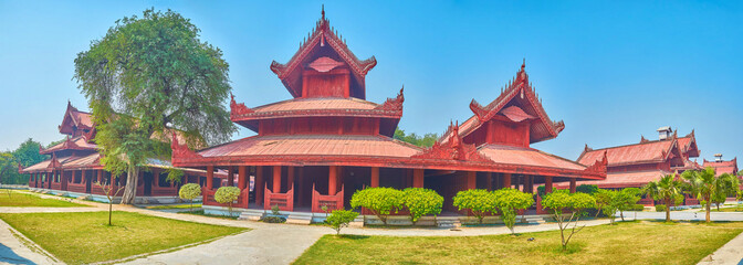 The red buildings of the Royal Palace in Mandalay, Myanmar