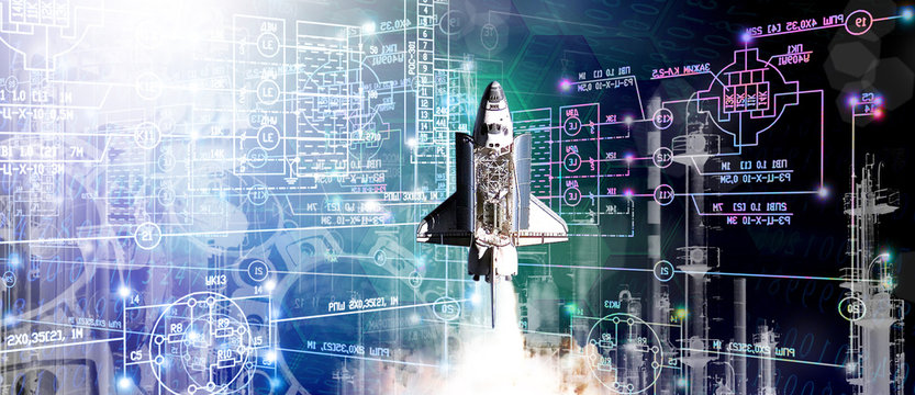 generation engineering industrial technologies construction rocket for space.elements of this image furnished by NASA