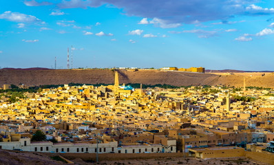 Wall Murals Algeria View of Ghardaia, a city in the Mzab Valley. UNESCO world heritage in Algeria