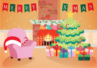 warm living room with Christmas decoration background vector