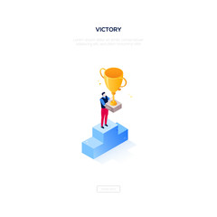 Victory concept - modern isometric vector web banner