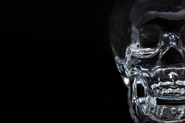 Crystal clear of head skull on black background.