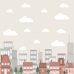 vector flat cartoon city building scene with house and skyline architecture illustration