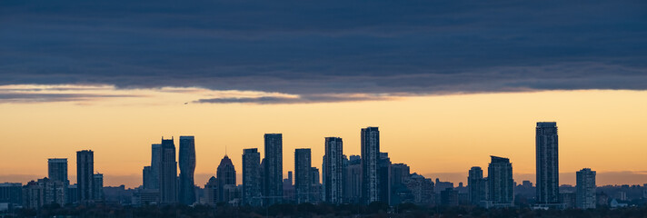 Silhouette of Mississauga Cityscape During Sunrise
