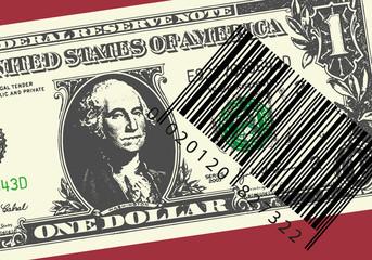 Le commerce internationnal symbolisé par un billet de un dollar associé à un code barre