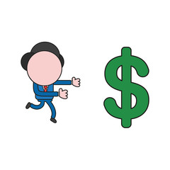 Vector illustration of businessman character running to dollar symbol. Color and black outlines.