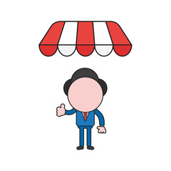 Vector illustration of businessman character giving thumbs-up under shop store awning. Color and black outlines.