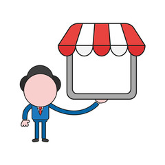 Vector illustration of businessman character holding shop store. Color and black outlines.
