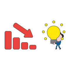 Vector illustration of businessman character carrying glowing light bulb idea to sales bar graph moving down. Color and black outlines.