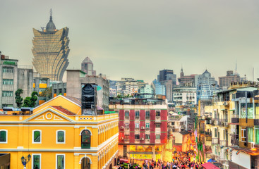 Skyline of Macau, a former Portuguese colony, now an autonomous territory in China