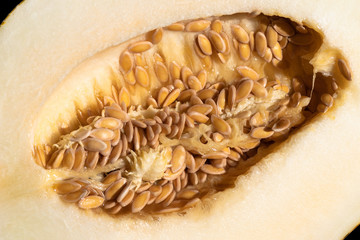 seeds of ripe melon closeup, abstract background