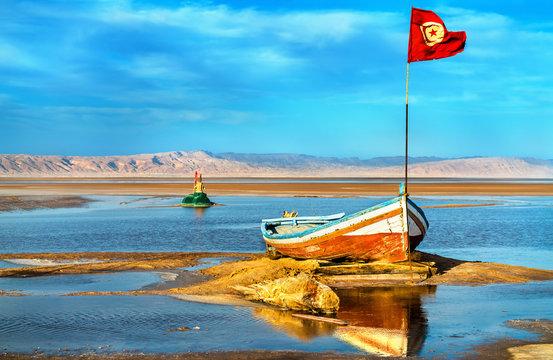 Boat on Chott el Djerid, a dry lake in Tunisia