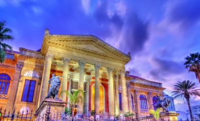 The Teatro Massimo Vittorio Emanuele, the biggest in Italy opera house. Palermo, Sicily