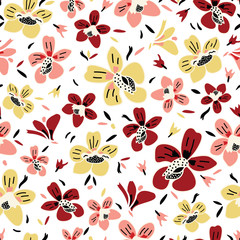 Vector seamless repeat colorful floral pattern with pink, rust and yellow flowers and white background.