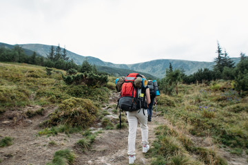 woman goes hiking with a backpack, mountains, nature, travel