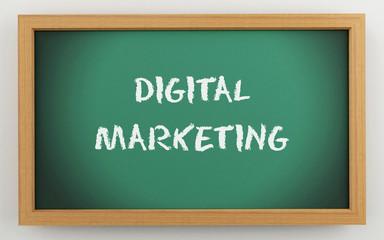 3d chalkboard with Digital marketing text